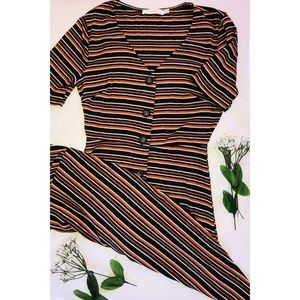 Lush - Von Maur Striped Button V-Neck Dress